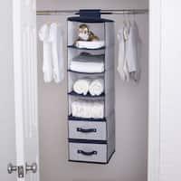 Delta Children 6 Shelf Storage with 2 Drawers, Navy