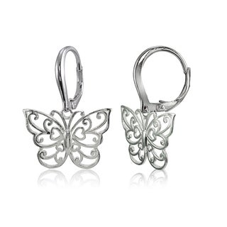 Mondevio Sterling Silver High Polished Filigree Butterfly Leverback Earrings