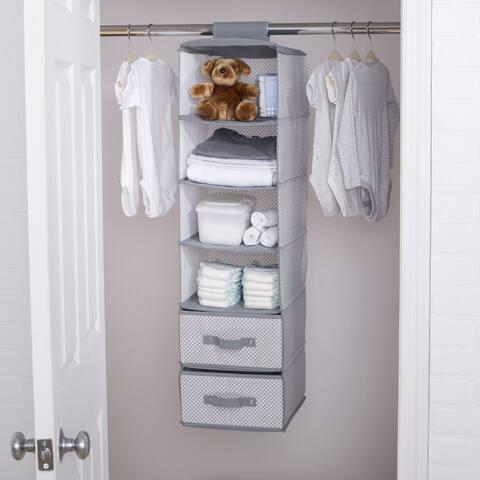 Delta Children 6 Shelf Storage with 2 Drawers, Cool Grey
