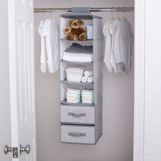 Delta Children 6 Shelf Storage with 2 Drawers, Cool Grey