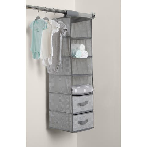 Delta Children 6 Shelf Storage with 2 Drawers, Dove Grey