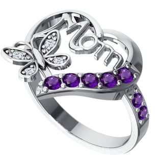 Orchid Jewelry Sterling Silver Amethyst Heart Shaped and Topaz Ring