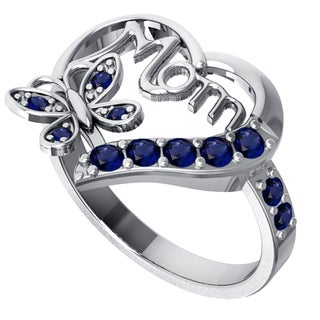 Orchid Jewelry Sterling Silver Sapphire Heart Shaped Ring