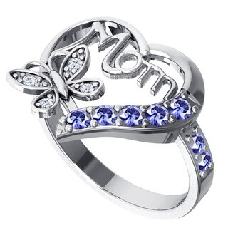 Orchid Jewelry Sterling Silver Tanzanite Heart Shaped and Topaz Ring