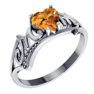 Orchid Jewelry Sterling Silver Citrine Heart Shaped Ring For Mom