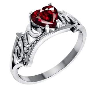 Orchid Jewelry Sterling Silver Garnet Heart Shaped Stone Ring