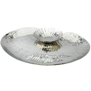Scalloped Stainless Steel Round Serving Platter with Attached Dip bowl