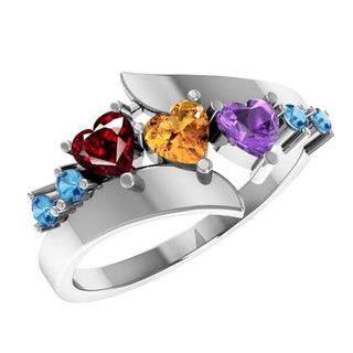 Orchid Jewelry Sterling Silver Amethyst Garnet Citrine Blue Topaz Heart Shaped Accent Ring