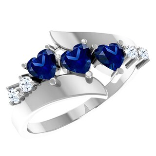 Orchid Jewelry Sterling Silver Sapphire Heart Shaped White Topaz Accent Ring
