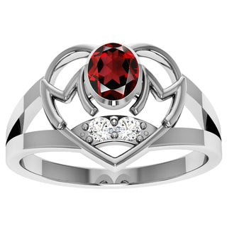Orchid Jewelry Sterling Silver Garnet and White Topaz Ring