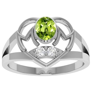 Orchid Jewelry Sterling Silver Peridot and White Topaz Ring