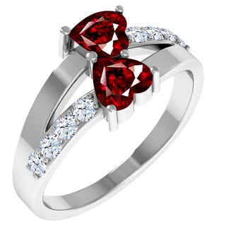 Orchid Jewelry Sterling Silver Garnet and White Topaz Heart Shaped Glitzy Ring
