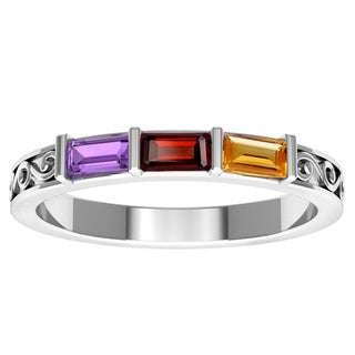 Orchid Jewelry Sterling Silver Amethyst Garnet Citrine Stackable Ring