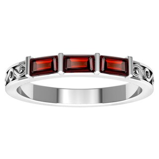 Orchid Jewelry Sterling Silver Garnet Stackable Ring
