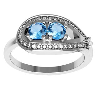 Orchid Jewelry Mother's Day Gift Sterling Silver Blue Topaz Diamond Accent Ring
