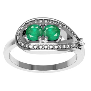 Orchid Jewelry Mother's Day Gift Sterling Silver Emerald Diamond Accent Ring