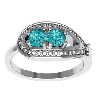 Orchid Jewelry Mother's Day Gift Sterling Silver Paraiba Tourmaline Diamond Accent Ring
