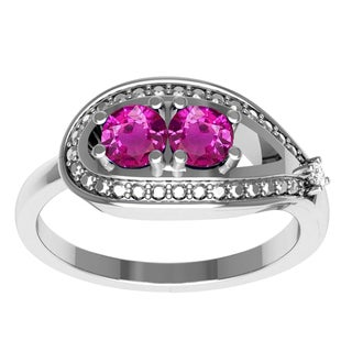 Orchid Jewelry Sterling Silver Pink Sapphire Diamond Accent Ring