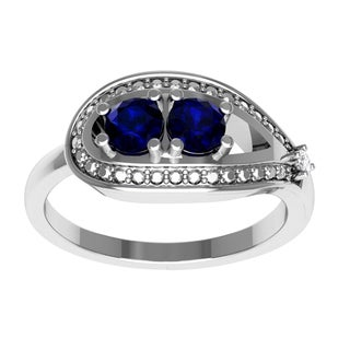 Orchid Jewelry Sterling Silver Sapphire Diamond Accent Ring