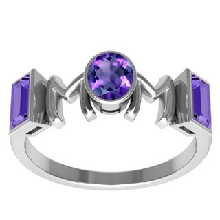 Orchid Jewelry Sterling Silver Mother's Day Amethyst 'Mom' Ring