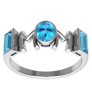 Orchid Jewelry Sterling Silver Mother's Day Blue Topaz 'Mom' Ring