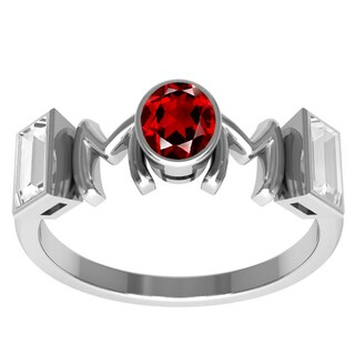 Orchid Jewelry Sterling Silver Mother's Day Garnet and White Topaz 'Mom' Ring