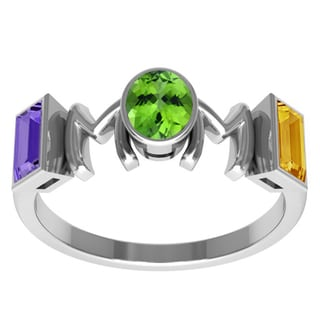 Orchid Jewelry Sterling Silver Mother's Day Amethyst, Peridot and Citrine 'Mom' Ring