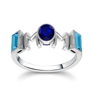 Orchid Jewelry Sterling Silver Mother's Day Sapphire and Blue Topaz 'Mom' Ring