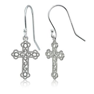 Mondevio Sterling Silver High Polished Filigree Cross Bottony Dangle Earrings (Option: Gold Plate - Pink)