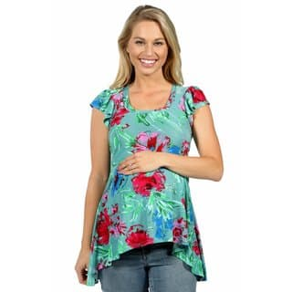 24/7 Comfort Apparel Tropical Paradise Maternity Tunic Top|https://ak1.ostkcdn.com/images/products/15029340/P21525186.jpg?impolicy=medium