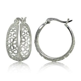Mondevio Sterling Silver High Polished Filigree Floral Round Hoop Earrings