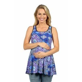 24/7 Comfort Apparel Queen of the Garden Maternity Tank Tunic Top