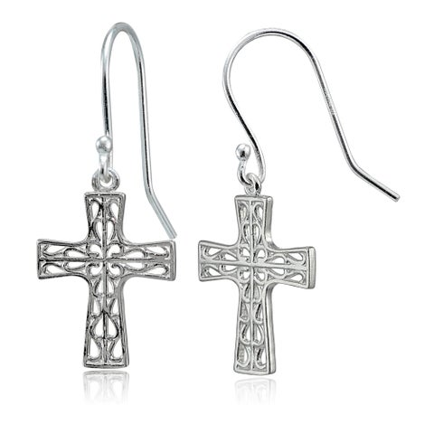 Mondevio Sterling Silver High Polished Filigree Cross Dangle Earrings