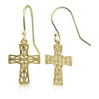 Mondevio Sterling Silver High Polished Filigree Cross Dangle Earrings