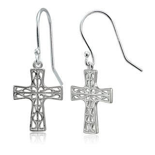 Mondevio Sterling Silver High Polished Filigree Cross Dangle Earrings (Option: Pink)