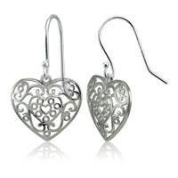 Mondevio Sterling Silver High Polished Filigree Heart Dangle Earrings