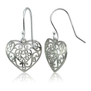 Mondevio Sterling Silver High Polished Filigree Heart Dangle Earrings