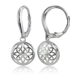 Mondevio Sterling Silver High Polished Filigree Round Leverback Earrings