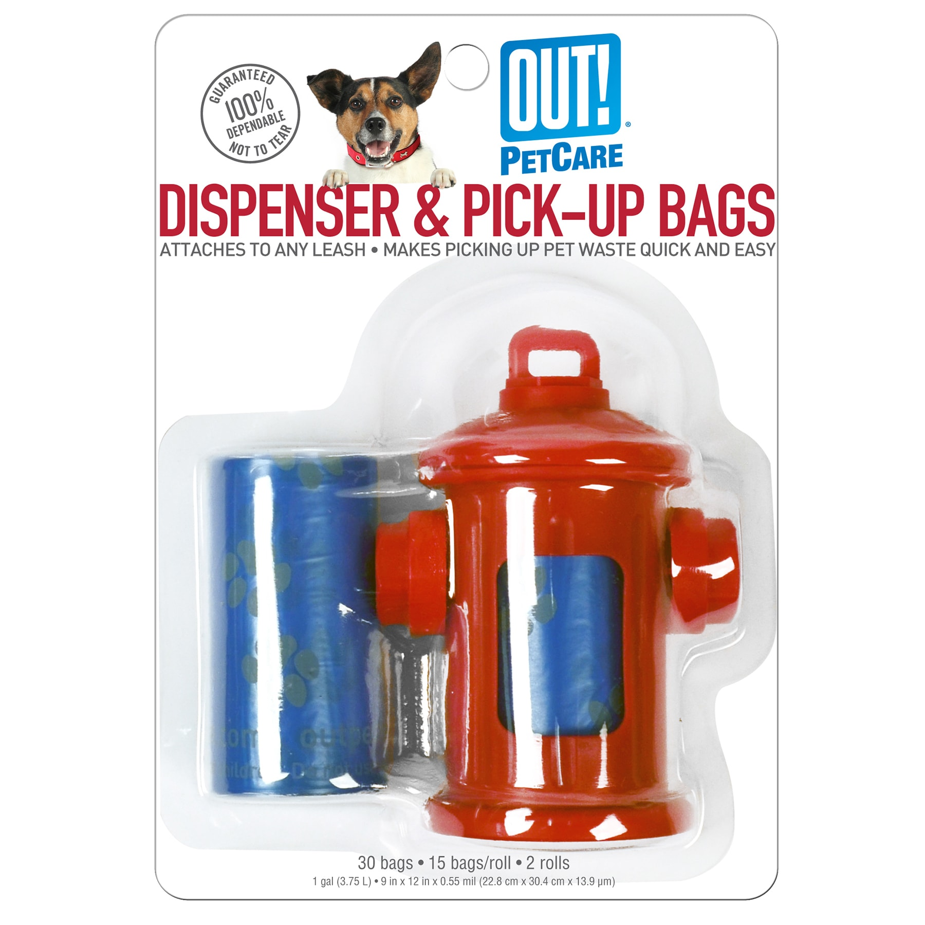Out Fire (Red) Hydrant Dispenser With Pet Waste Pick-Up B...