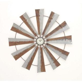 Benzara Brown/Grey Iron Artisitic Windmill Wall Clock