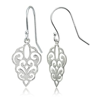 Mondevio Sterling Silver High Polished Filigree Dangle Earrings (Option: Pink)