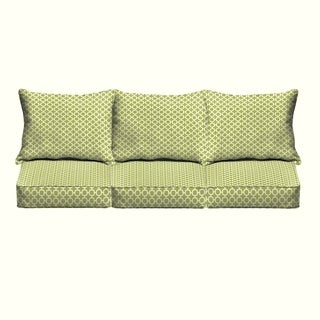 Hadley III Pear Green Chainlink Indoor/ Outdoor Corded Pillow and Cushion 6-pc Sofa Set