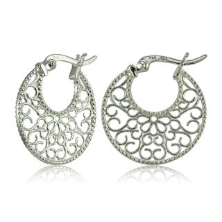 Mondevio Sterling Silver High Polished Floral Filigree Round Flat Earrings