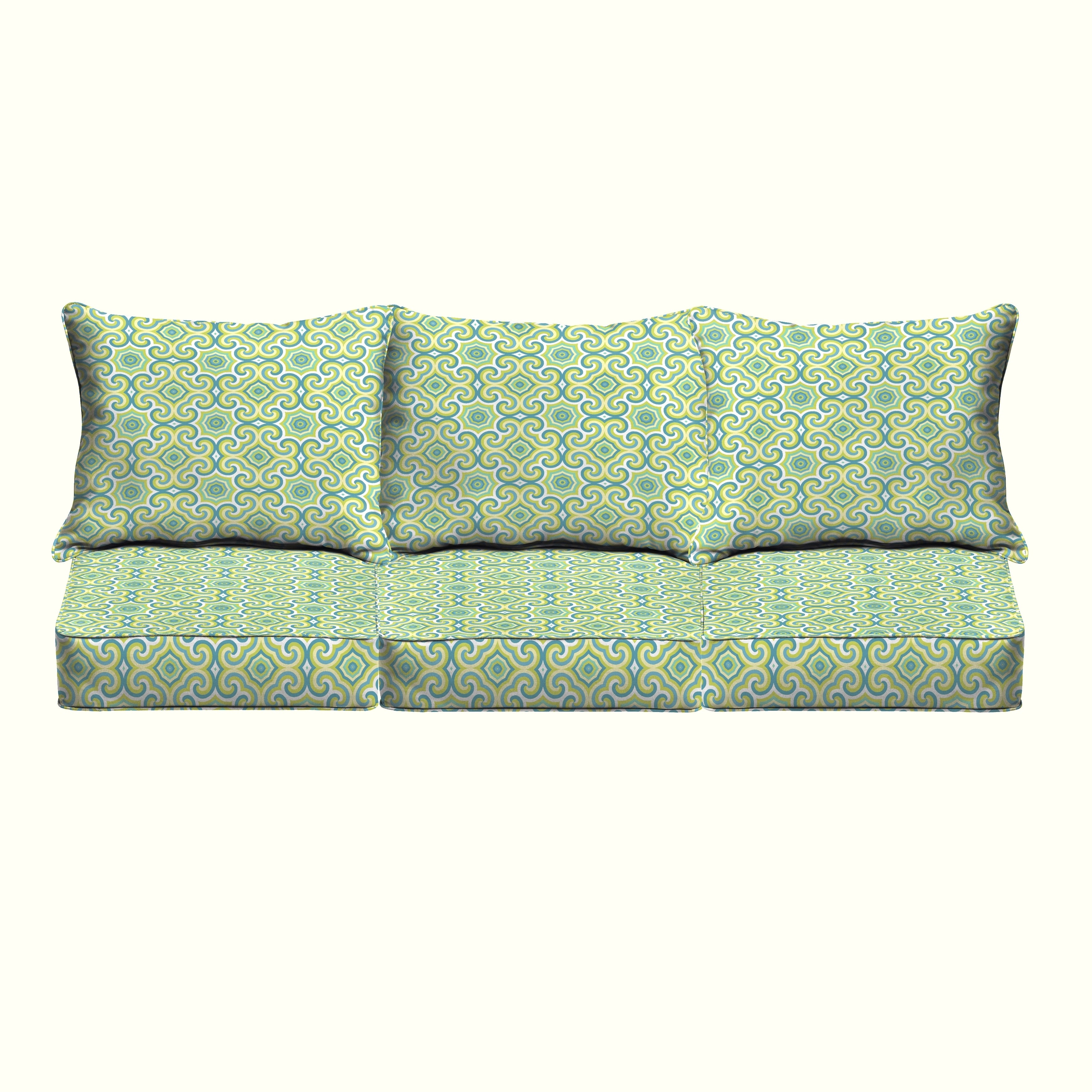 Picture of: Shop Oliver Lime Green Aqua Indoor Outdoor Corded Pillow And Cushion 6 Pc Sofa Set Overstock 15029430