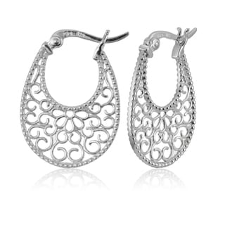 Mondevio Sterling Silver High Polished Floral Filigree Oval Flat Earrings