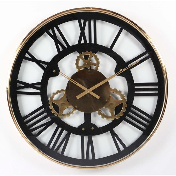 shop benzara black and goldtone stainless steel large wall clock free shipping today. Black Bedroom Furniture Sets. Home Design Ideas