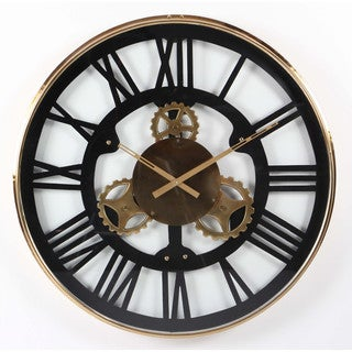 Benzara Black and Goldtone Stainless Steel Large Wall Clock