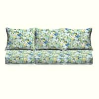 Perryn Green/ Blue Floral Indoor/ Outdoor Corded Pillow and Cushion 6-pc Sofa Set