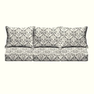 Rainford Grey/ Cream Indoor/ Outdoor Corded Pillow and Cushion 6-pc Sofa Set