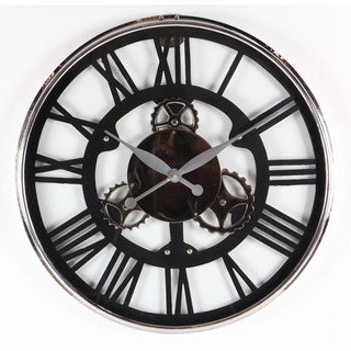 Benzara Black and Silver Aluminum and Stainless Steel Modish Styled Wall Clock